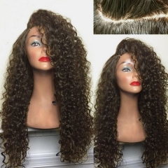 Bombshell 180% Long Black Wig Curly Synthetic Wig With Haby Hair Heat Resistant Fiber Hair Wigs brown as picture