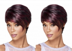 Short Wine red Hair Wigs Women Heat Resistant Synthetic Hairpieces African Wigs For Women Hair 1b# free size