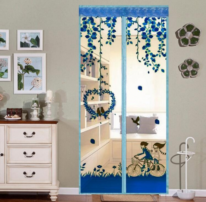 Magnet Mosquito Net Summer Anti-mosquito Mesh magnetic Curtains Soft Yarn Door Tulle Window Screen Blue 100*210cm