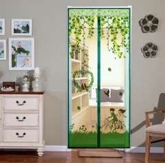 Magnet Mosquito Net Summer Anti-mosquito Mesh magnetic Curtains Soft Yarn Door Tulle Window Screen Green 90*210cm