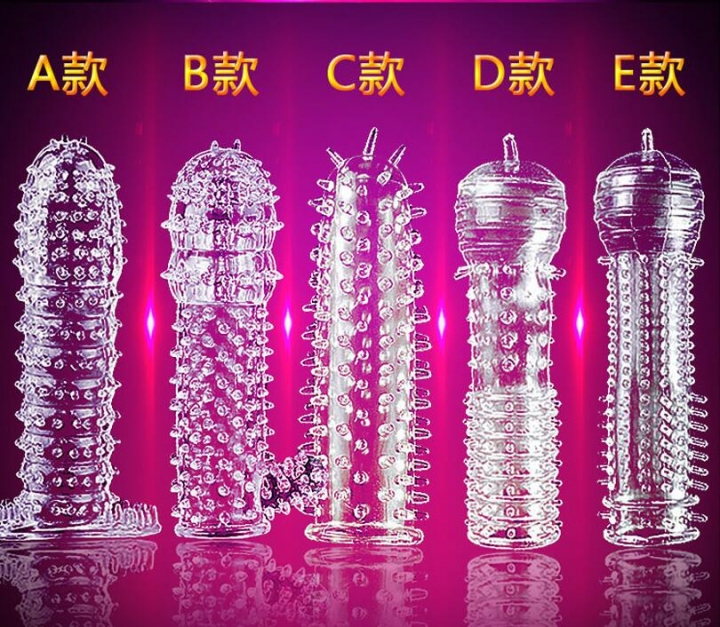 Hot!New Penis Sleeve Delay Time Crystal Cock Rings Reusable Condom Penis Extension Adult Sex Toys A as picture