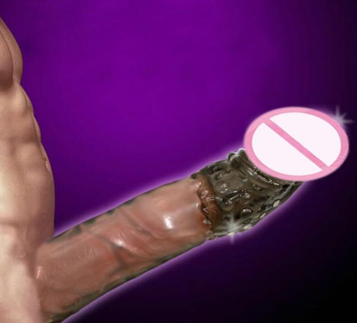 Silicone Reusable Condoms Extend Soft Dick Ring Male Penis Extension Sleeves Sex Toys for Man skin one size