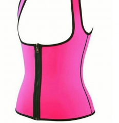 Adjustable Shoulder Strap Waist Trainer Vest Corset Zipper Hook Body Shaper Waist Cincher Tummy pink S