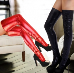 Women Patent Leather Stockings Stretchy Non-slip Long Knee Sexy Socks Thongs Set red one size