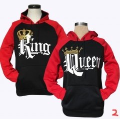 2018 KING Queen Crown Print Unisex Autumn Hoodies Slim Sweatshirt for Couple Lovers Hooded Pullovers 1# queen l