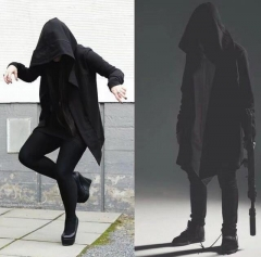 Street Original Designs Hip Hop Sweatshirt Autumn Long Hooded Wizard's Cloak Cape Hoodies Cardigan black m