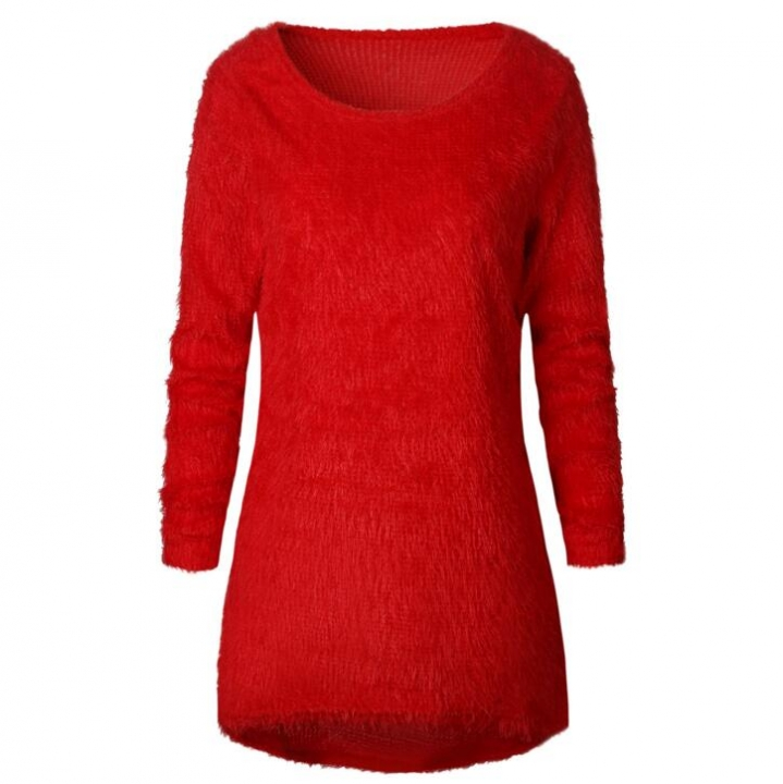 Fashion Sexy Ladies Sweater Coat Long Sleeve Soft Smooth Warm red S