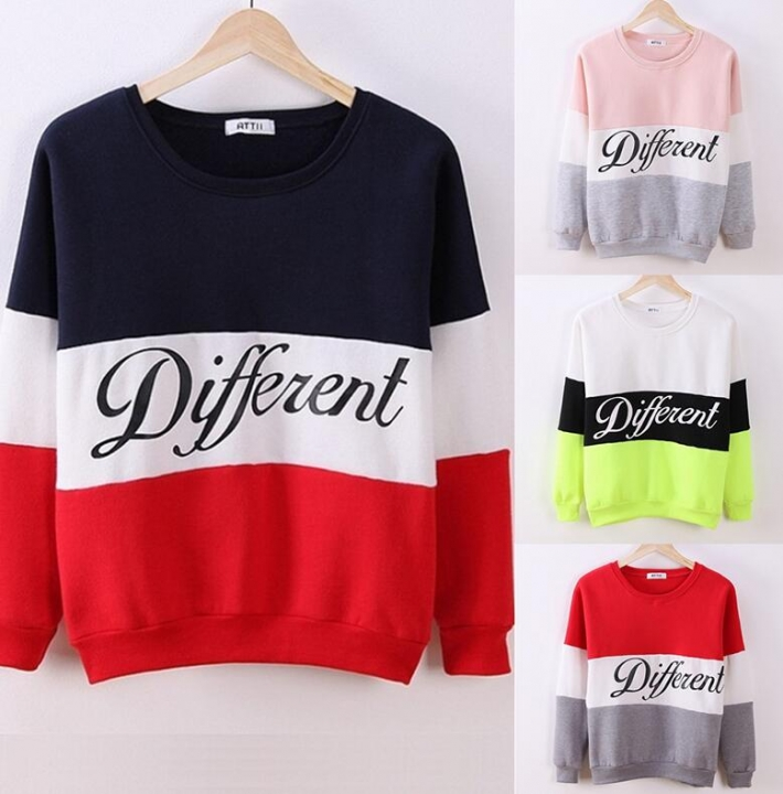 2019 Autumn winter women fleeve hoodies printed letters Different casual sweatshirt hoody sudaderas blue and red m
