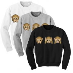 Monkey Patterns Women Sweatshirt Autumn Hoodies Long Sleeve O-Neck 3D Emoji Printed Girls Clothing gray s