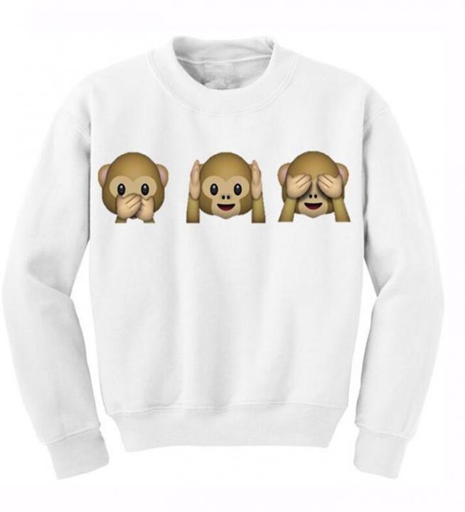 Monkey Patterns Women Sweatshirt Autumn Hoodies Long Sleeve O-Neck 3D Emoji Printed Girls Clothing white xl