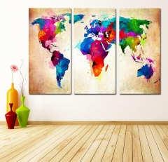 Home Decor Canvas Painting Map Wall Art Picture Canvas Prints Modern Wall Pictures for Room No Frame ly01 30*60cm(3 sheets)