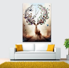 Nordic Style Silhouette of Deer Poster Paintings Wall Decoration Scenery Posters  Prints Wall Art A 21*29.7cm no frame