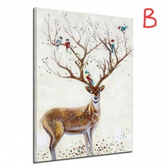 Nordic Style Silhouette of Deer Poster Paintings Wall Decoration Scenery Posters  Prints Wall Art B 21*29.7cm no frame