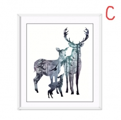 Nordic Style Silhouette of Deer Poster Paintings Wall Decoration Scenery Posters  Prints Wall Art C 21*29.7cm no frame