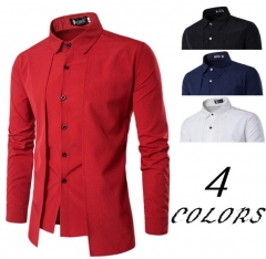 New Autumn Fashion Fake Two Pieces Style shirt Men Suit Tops Slim Fit Men Long Sleeve Brand shirts white M
