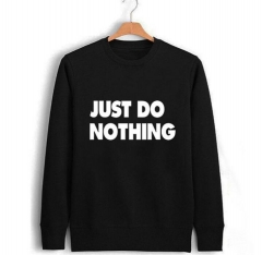 2019 Just Do Nothing Fashion Women Casual Long Sleeve Hoodie Jumper Pullover Sweatshirt Tops Hoodies black s