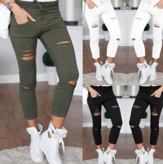 Skinny Jeans Women Denim Pants Holes Destroyed Knee Pencil Pants Casual Trousers  Stretch Ripped white S