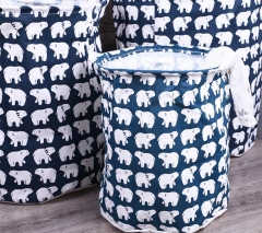 Waterproof Storage Basket Bag Dirty Laundry Basket Bag Clothes Storage Box Sundries Fabric Folding Polar bear  beaks 30*33cm