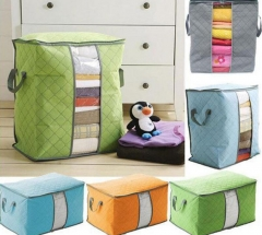 Qualify Storage Bag Portable Organizer Non Woven Underbed Pouch Box Bamboo Clothing Storaging Bag green 48*28*50cm