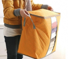 Qualify Storage Bag Portable Organizer Non Woven Underbed Pouch Box Bamboo Clothing Storaging Bag orange 48*28*50cm