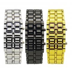 Fashion Full Metal Digital Lava Wrist Watch Iron Metal Red LED Samurai for Men Sport Simple Wathes black for men