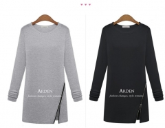 Spring Autumn winter Women Casual Loose Zipper Shirts Long Sleeve O-neck T-Shirt Tunic Tops black m