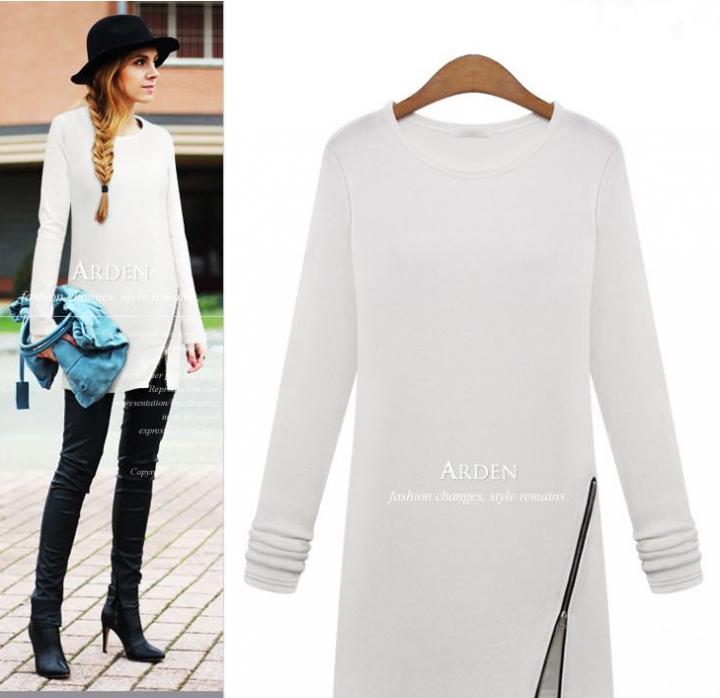 Spring Autumn winter Women Casual Loose Zipper Shirts Long Sleeve O-neck T-Shirt Tunic Tops white xxl