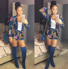 women two pieces shorts set Autumn long sleeve print Western outfits elastic waist shorts suit sets as picture S