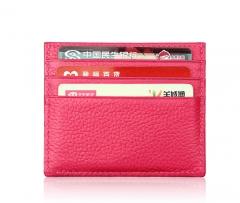 Super Slim Soft Genuine Leather Card Holder Credit Card Holder Card Case Organizer Mini Men Wallets rose red one size