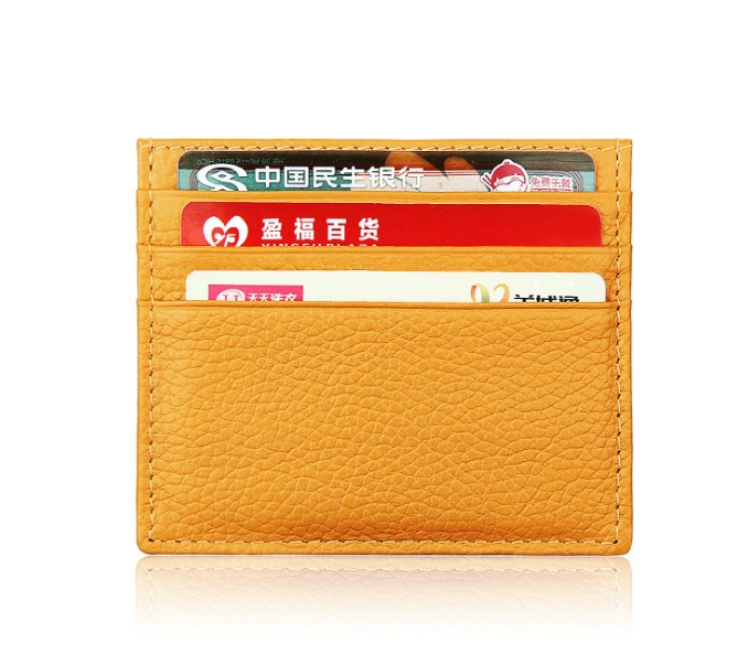 17a801d6f778 Super Slim Soft Genuine Leather Card Holder Credit Card Holder Card Case  Organizer Mini Men Wallets orange one size