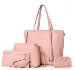 Women Bag Set Top-Handle Big Capacity Female Tassel Handbag Purse Ladies PU Leather Crossbody Bag brown as picture