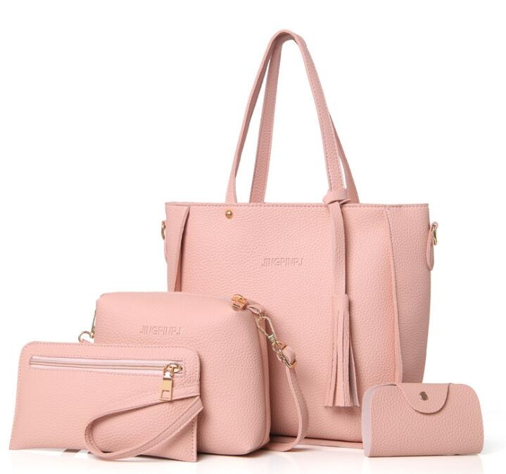 Women Bag Set Top-Handle Big Capacity Female Tassel Handbag Purse ... 2b7aa79b5