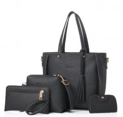 Women Bag Set Top-Handle Big Capacity Female Tassel Handbag Purse Ladies PU Leather Crossbody Bag black as picture