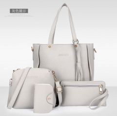 Women Bag Set Top-Handle Big Capacity Female Tassel Handbag Purse Ladies PU Leather Crossbody Bag gray as picture