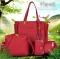 Women Bag Set Top-Handle Big Capacity Female Tassel Handbag Purse Ladies PU Leather Crossbody Bag wine red as picture