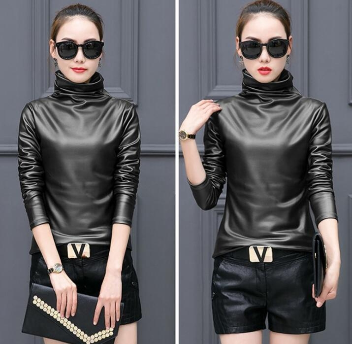 8d784c50d9345 Fashion Womens Fall Plus Size T Shirt Long Sleeve Turtleneck Warm Velvet PU  Leather T Shirs Sexy Winter Tops