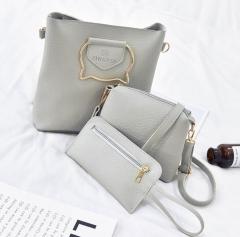 3 sets handbag women composite bag female large capacity tote bag fashion shoulder crossbody bag gray as picture