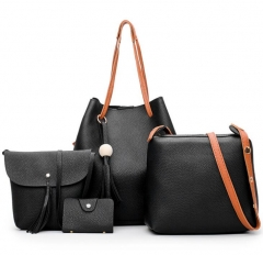 Large Capacity Women Bags Shoulder Tote Bags bolsos Messenger Bags With Tassel 4Pcs/Set Handbags brown as picture
