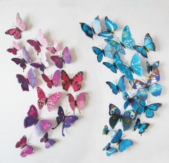 Qualified Wall Stickers12pcs Decal Wall Stickers Home Decorations 3D Butterfly Rainbow PVC Wallpaper green 12pcs/lot