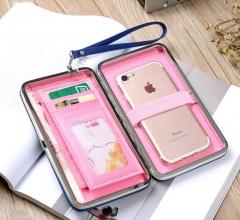 Purse wallet female famous brand card holders cellphone pocket gifts for women money bag clutch black 17.8*10.2*2.8cm