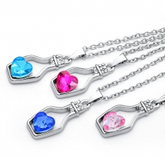 Hot Fashion Punk Collares Wish Bottle Crystal Heart Pendant Necklace Chain Jewelry Statement collier Random color as picture