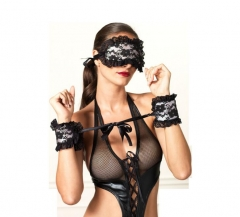 2019 Exotic Apparel Sexy Lingerie Hot Lace Mask Blindfolded Patch Handcuffs  Couple Erotic Lingerie black Eye mask + cuffed