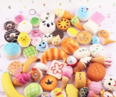 10PCS Random Squishy Bread Slow Rising Cute Straps Cake Buns Pendant Toy Kid Squeeze Scented Charms Random color 10PCS