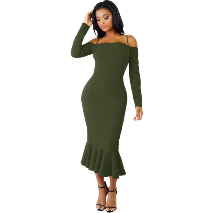 25add498f 2018 Women Autumn Sexy Casual dress Fashion elegent Flounce Dress Vestidos  Long Sleeve slip dress xl