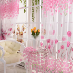 Cute Willow leaf /tulip Tulle Curtains Blinds Voile Pastoral Style Willow Floral Decorative cortinas Willow leaf green 100*200cm