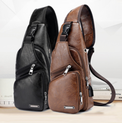 Cross Body Fashion Chest Bag with USB Charging Port Headphone Plug For Mens black as picture