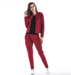 Women Color Block Two Piece Outfit Long Sleeve Jacket Pants Set Tracksuit red m