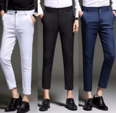Fashion New High Quality Cotton Men Pants Straight Male Classic Business Casual Trousers Nine points black 27