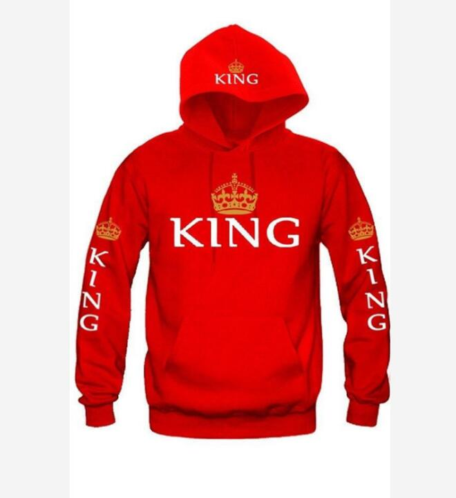 2019 KING Queen Crown Print Unisex Autumn Hoodies Slim Sweatshirt for Couple Lovers Hooded Pullovers red king s