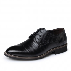 2018 Men Fashion Dress Business Wedding Shoes Flats Pointed Toe Formal Shoes Handsome black 38 pu leather